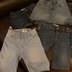 Girls blue jean shorts and skirts
